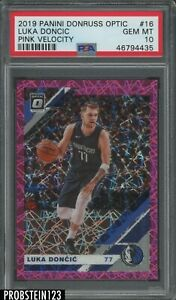 2019 Panini Donruss Optic Pink Velocity #16 Luka Doncic 64/79 PSA 10 GEM MINT