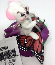 """Vintage Annalee  Mobilitee White Mouse Butterfly 3"""" Doll Fantasy Flight"""