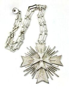 "Vintage Signed Monet Large Silver Tone Maltese Cross Pendant Necklace 28"""