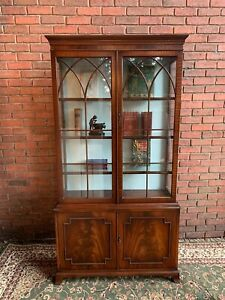 Fine Augustus Pugin Style Red Walnut Library Gothic Panel Bookcase