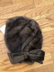 Elegant Vintage Mink Fur Hat Turban Style Satin Lined