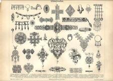 Stampa antica GIOIELLI COLLANE ORECCHINI PENDENTI ANELLI 1890 Old antique print