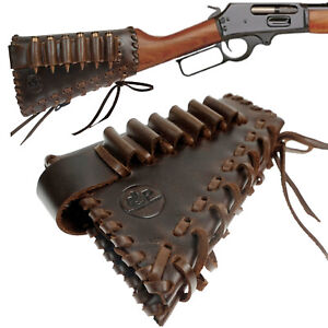 Handmade Leather Rifle Buttstock Shell Holder Gun Cartridge Cover Cheek Rest US