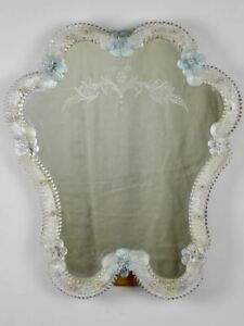 "Vintage Venetian style mirror with blue flowers and etchings 18½"" x  15¼"""