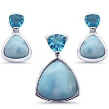 Trillion Shape Natural Larimar .925 Sterling Silver Earring & Pendant Set