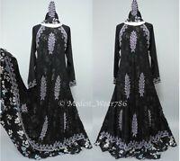 Dubai Abaya Jilabiya Floral Maxi Dress Flare Umbrella Silver Rhinestones Black