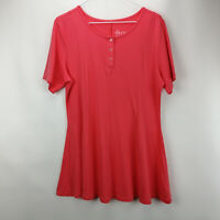 Denim & Co. Essentials Round Neck Fit&Flare Henley Knit Top Coral Rose S A307529