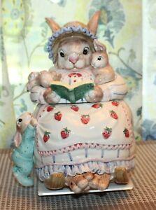 Vintage FITZ & FLOYD Cookie Jar BUNNY BONNET HILL Rabbit Reading To Bunny
