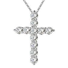 925 SILBER Anhänger AAA Zirkonia Kreuz Damen Collier Jesus mit Kette Kristalle