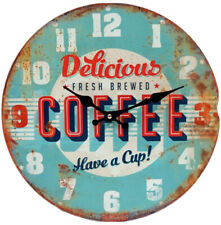 """Aki Home Wall Clock Delicious Fresh Brewed Coffee Have A Cup Blue 13"""" New"""