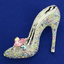 Shoe W Swarovski Crystal Multi Color Slippers High Heel Shoes Brooch Fairy Pin