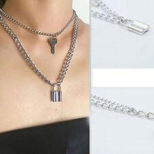 Women Chain Necklace Key Lock 2-Layers Pendant Punk Choker Stainless Steel Chain