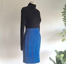 Vintage Yves Saint Laurent Blue Wool Tweed High Waist Skirt