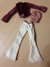 Barbie My Scene Doll Outfit Faux Leather Burgundy Jacket Pants W/ Slits Top Set