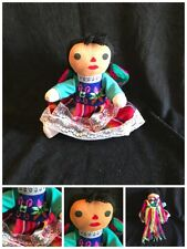 Traditional Mexican Folk Art Girl Hand Made Cloth Doll Colorful Dress Braids