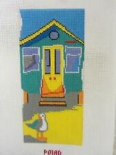 """Needlepoint Canvas """"Cabana with Seagull"""" Hand Painted by Emma Ball PEB 049"""