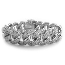18K White Gold CUBAN Miami Link Bracelet 18mm Bling Out Iced Lab Diamond