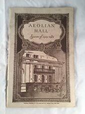 Aeolian Hall Seasons of 1919-1920 Booklet Manhattan New York Concert Theatre