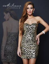 Milano Formals E1668 Gold Sequins on Black Strapless Party Mini Dress 8