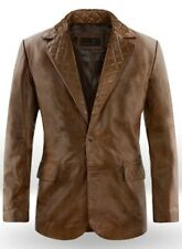 Men's Genuine Lambskin Real Leather Blazer TWO BUTTON Coat Jacket -LTMB003