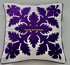 Hawaiian quilt hand quilted/appliquéd 1 cushion handmade pillow cover HIBISCUS