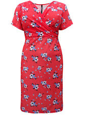 Orange Jersey Floral Shift Dress Cross Over V Neck Size 18 20 22 24 26 28 30 32