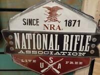 NATIONAL RIFLE ASSOCIATION METAL SIGN 13 BY 9 INCHES RAISED LETTERS GAS SHOP