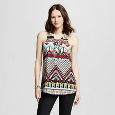 SELF ESTEEM Women's Sleeveless Lace Up Neck Geometric Tank MULTICOLOR Small NWOT