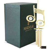 24K Gold Plated Crystal Studded Musical Note Decorative Wind Chime by Matashi