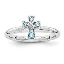 Sterling Silver Blue Topaz Cross Ring Size 8 #2920