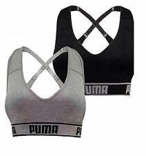 PUMA Women's Seamless Sports Bra Removable Cups - 2 Pack - Black/Gray, Large