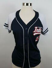 MLB Cleveland Indians Womens SS Button Down Navy Jersey Genuine Merchandise M
