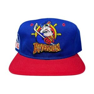Vtg Rare IHL Peoria Rivermen Cove Two Tone Hockey Snapback Hat Cap