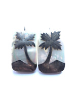 Vintage mother of pearl earrings with sterling silver overlay palm tree and pyra