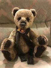 "Large Retired Charlie Bear Harrold, Grizzly Fur, Jewel Scarf 2013, 19"" With Tags"