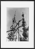 ca. 1959 photograph of Watts Tower, Los Angeles, Calif.: view of two pinnacles