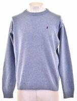 MARLBORO CLASSICS Mens Crew Neck Jumper Sweater XL Blue Wool Vintage BW14