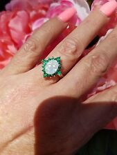 Oval Opal W/Star Emerald Halo Ring, Sterling Silver, Size 6