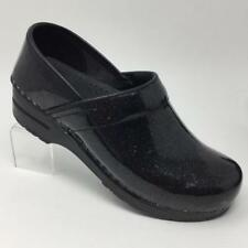 Sanita Glitter Sparkle Patent Black Leather Clogs Size 6.5 EU 37