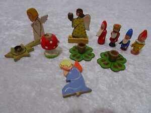 10 PC Wood Convolute For Christmas - Vintage - Figures Chandelier Handgefertigt