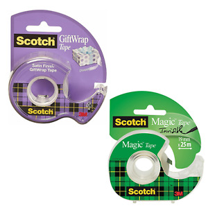 Scotch Invisible Magic Tape Scotch Giftwrap Satin Tape Sellotape with Dispenser