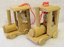 Vintage Wood Christmas Ornament Lot 2 Train