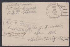 1918 US Postal Agency in Siberia cover to Arizona, A.E.F. Siberia Censor cachet
