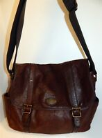 Fossil Unisex Brown Bomber Leather Messenger Brief Bag Crossbody Bag