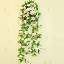 UK Artificial Fake Silk Rose Flower Ivy Vine Hanging Garland Home Floral Decor