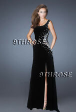 EMBRACE YOUR DIVA! BEADED BLACK NETTING CUTOUT FORMAL/EVENING/PROM GOWN S AU6US4