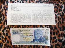 Great Historic Banknotes Argentina 5000 PESOS 1977-1983 P 305b UNC