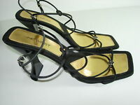 WOMENS BLACK JEWEL STRAPPY SANDALS SLINGBACK HEELS PUMPS EVENING SHOES SIZE 8 M