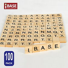 Doyeemei 100 Wooden Alphabet Scrabble Tiles Black Letters and Numbers