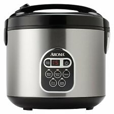 Aroma 20-Cup (Cooked) Digital Rice Cooker and Food Steamer, Stainless Steel, New